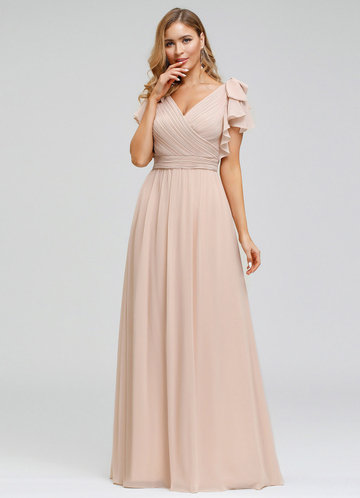 front_EVER-PRETTY Plus Size Ruffle Sleeve Ruched Bodice Evening Dresses