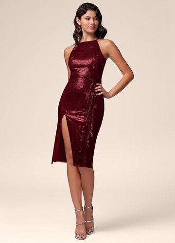 Shine On Burgundy Sequin Midi Dress