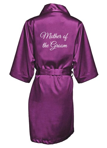 Azazie Embroidered Mother of the Groom Satin Robe