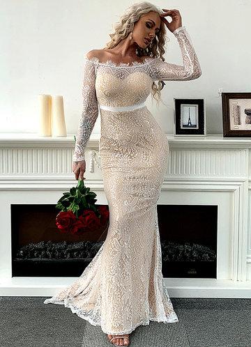 front_Missord Off Shoulder Ribbon Waist Lace Mermaid Dress