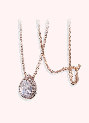 back_Haloed Pear Cubic Zirconia Pendant Necklace