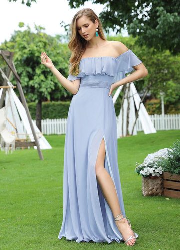 front_EVER-PRETTY Ruffle Off Shoulder Split Prom Dress