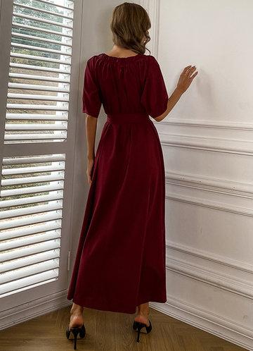 back_Missord Puff Sleeve Frill Trim Belted Dress