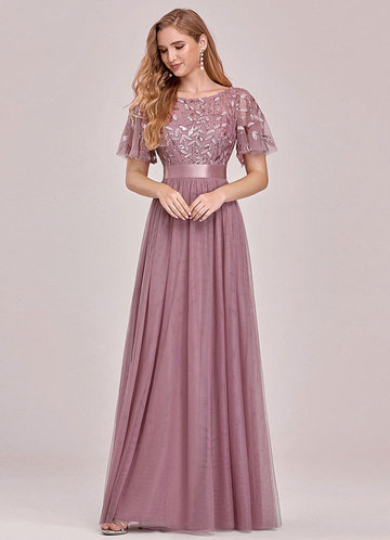 front_EVER-PRETTY Embroidery & Sequin Bodice Mesh Prom Dress