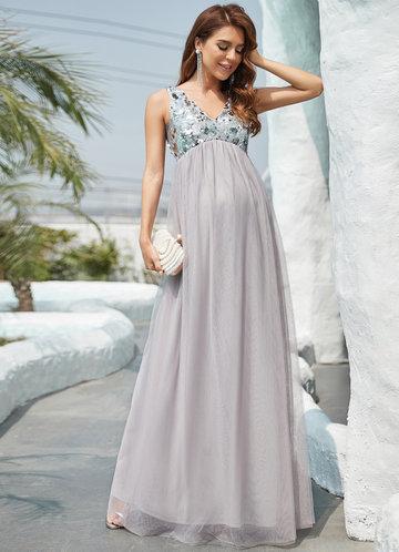 front_Ever Pretty Sequin Empire Waist Maxi Maternity Dress
