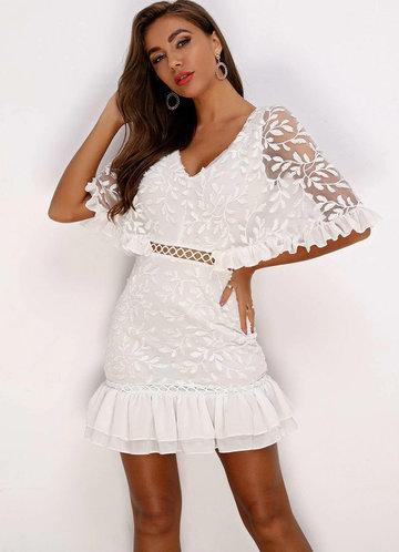 front_Joyfunear Ruffle Hem Batwing Sleeve Embroidery Mesh Dress