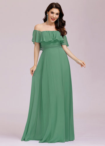 front_EVER-PRETTY Ruffle Off Shoulder Split Dress