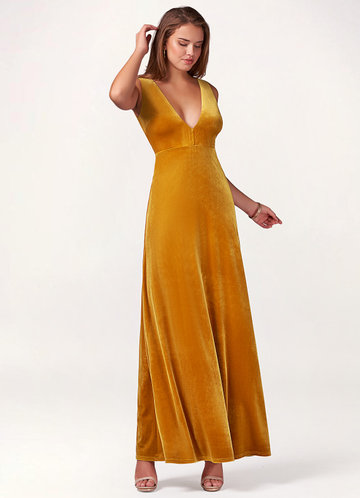 front_Blush Mark Party Time {Color} Velvet Maxi Dress