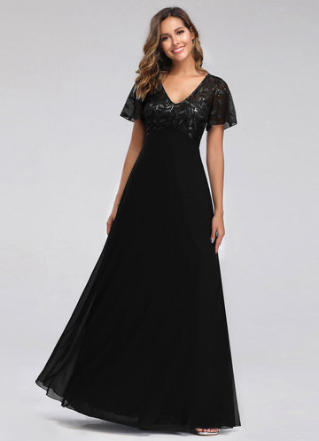front_EVER-PRETTY Embroidery & Sequin Bodice Mesh Dress