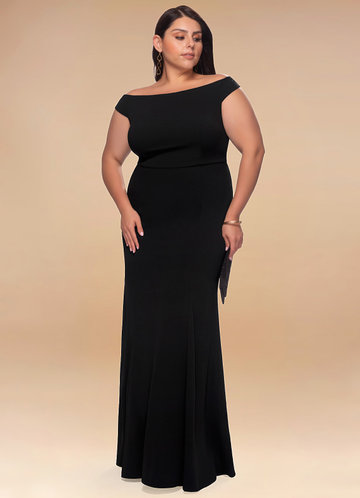 Cherish Black Stretch Crepe Maxi Dress
