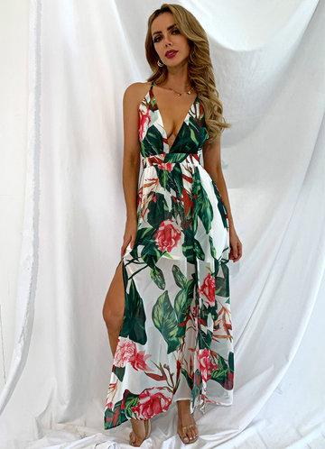 front_Joyfunear Crisscross Backless Floral Cami Dress