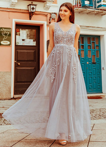 front_EVER-PRETTY Sleeveless A-Line Maternity Tulle Maxi Dress