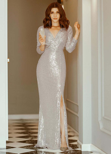 back_EVER-PRETTY Surplice Neck Split Thigh Sequin Dress
