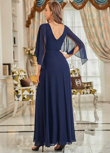 back_EVER-PRETTY Chiffon Cloak Sleeve Waist Decor Dress