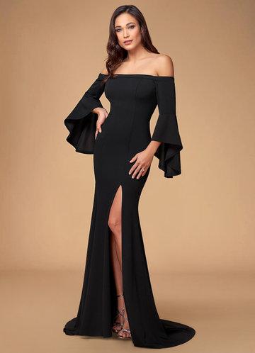 Dulcet Black Stretch Crepe Maxi Dress