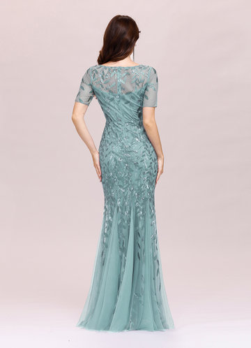 back_EVER-PRETTY Sequin Leaf Mesh Fishtail Hem Dress