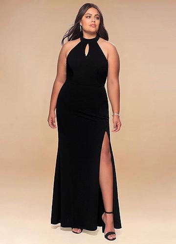 Enchanted Black Stretch Crepe Maxi Dress