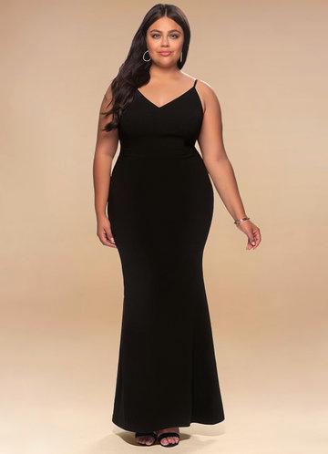 Day to Night Black Stretch Crepe Maxi Dress