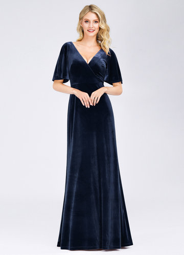 front_EVER-PRETTY Surplice Neck Flutter Sleeve Velvet Dress
