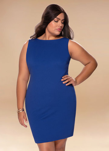 Natasha Royal Blue Open Back Midi Dress