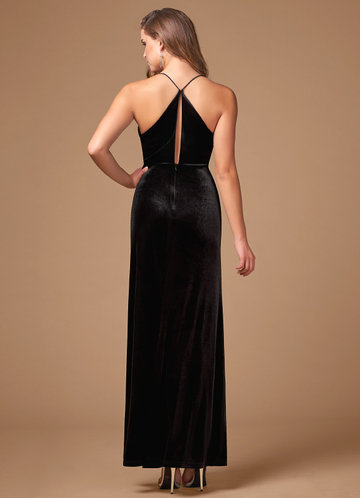 back_Blush Mark On Fleek {Color} Velvet Maxi Dress