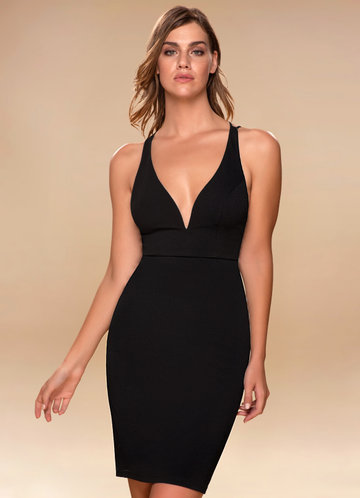 Metropolitan Black Open Back Midi Dress