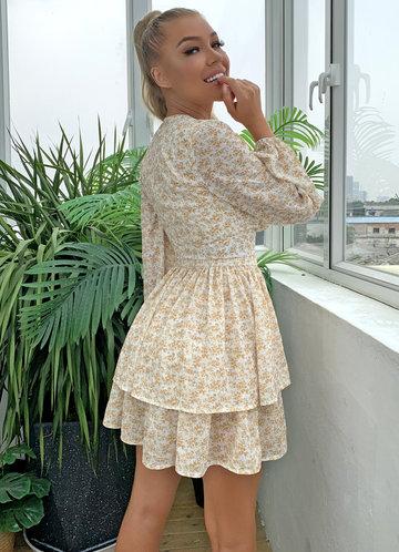 back_Joyfunear Layered Hem Belted Ditsy Floral Dress