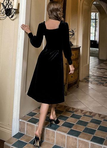 back_Missord Lantern Sleeve Frill Trim Velvet Dress