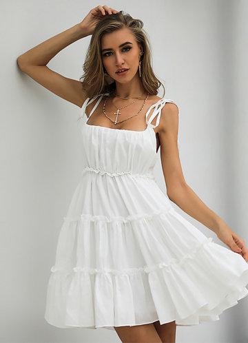 front_Missord Knot Straps Frill Trim Cami Dress