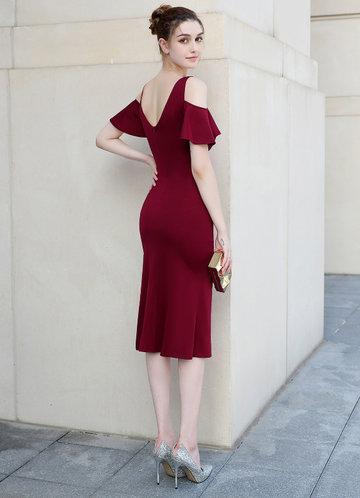 back_Kalinnu Side Bead Trim Midi Dress