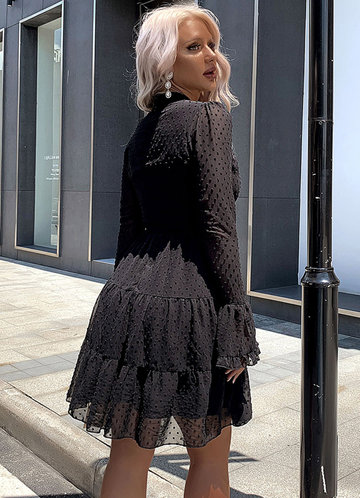 back_Missord Mock Neck Swiss Dot Chiffon Dress