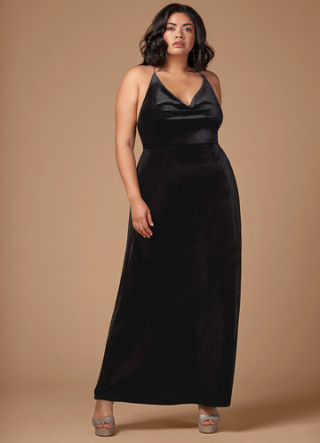 front_Blush Mark Plus Size On Fleek Velvet Maxi Dress