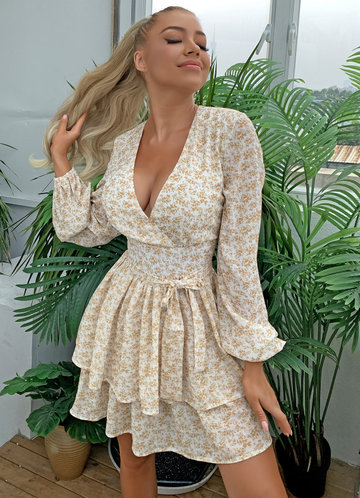 front_Joyfunear Layered Hem Belted Ditsy Floral Dress