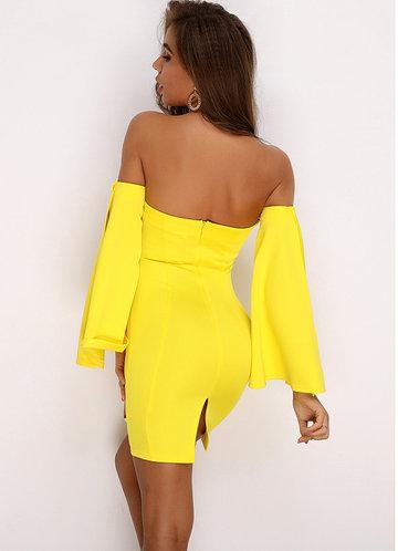 back_Joyfunear Off Shoulder Split Bell Sleeve Dress