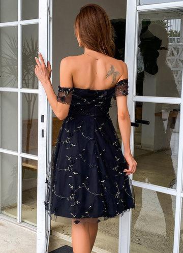 back_AZ Off Shoulder Embroidered Mesh Prom Dress