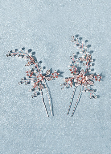 front_Pearl and Floral Burst Hair Pins