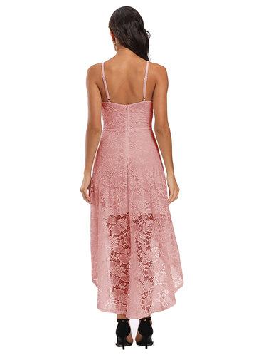 back_Caidienu High Low Hem Lace Midi Dress