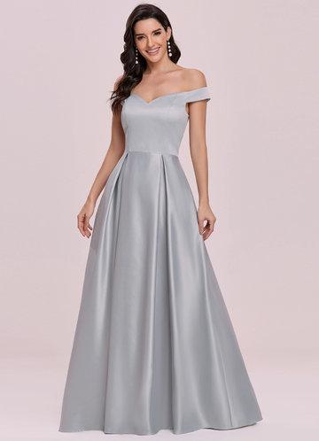 front_EVER-PRETTY Off Shoulder Zip Back Satin Dress