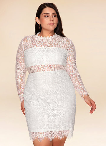 Fall in Love White Lace Long Sleeve Dress