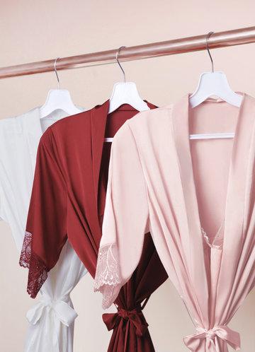 front_Short Sleeve Vintage Satin Robe