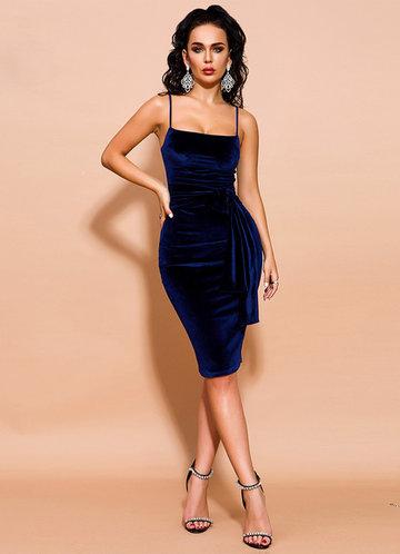 front_Missord Tie Waist Zip Back Velvet Cami Dress