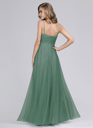 back_EVER-PRETTY Zip Back Surplice Neck Mesh Prom Cami Dress
