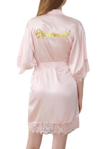 front_Bridesmaid Glitter Print Lace Satin Robe
