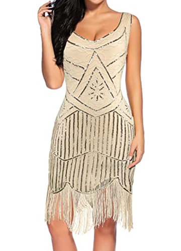 front_Blush Mark Vintage 1920s Fringed Gatsby Sequin Beaded Tassels Hem Flapper Dress