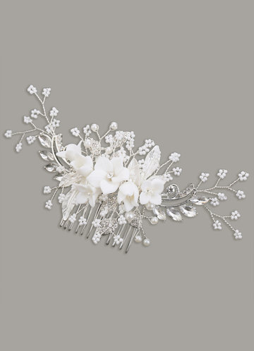 front_Radiant Floral and Pearl Hair Comb