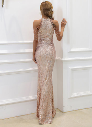 back_AZ Halter Neck Sequin MermaidProm Dress