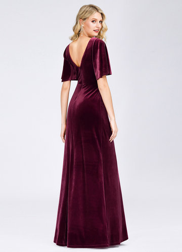 back_EVER-PRETTY Surplice Neck Flutter Sleeve Velvet Dress