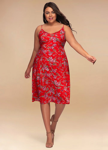 Secret Garden Red Floral Print Midi Dress