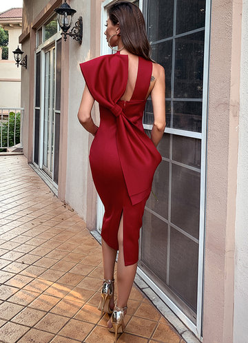 back_Missord Big Bow Back Halterneck Pencil Dress