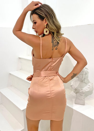 back_Joyfunear Cowl Neck Zip Back Ruched Satin Cami Dress
